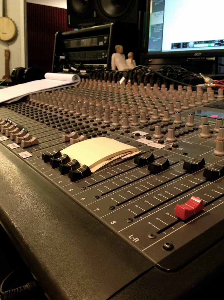 A view of the control board for mixing and mastering